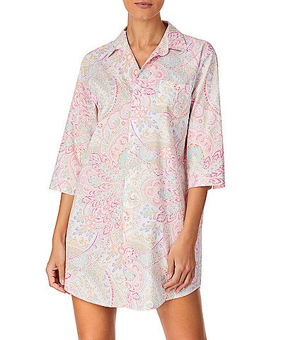 Lauren Ralph Lauren His Shirt Paisley Print Woven Lawn Sleep Shirt