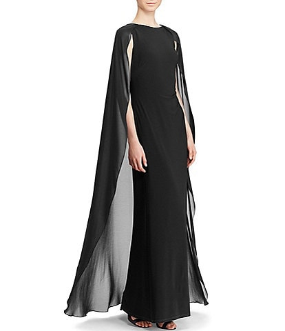 Lauren Ralph Lauren Hopelee Georgette Cape Gown