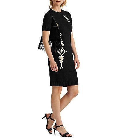 Lauren Ralph Lauren Intarsia Knit Southwestern Placement Print Crew Neck Sweater Dress