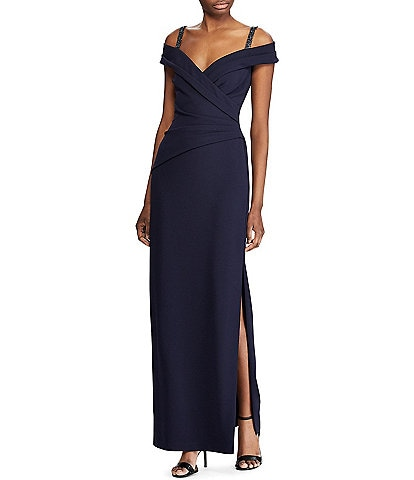 Lauren Ralph Lauren Ira Off-the-Shoulder Sweetheart Neck Embellished Strap Detail Side Slit Crepe Column Gown