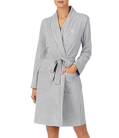 Lauren Ralph Lauren Jacquard Herringbone Knit Short Wrap Robe