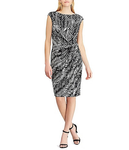 Lauren Ralph Lauren Jersey Palm Print Ruched Dress