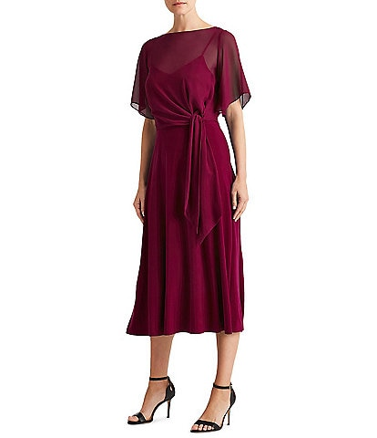 Lauren Ralph Lauren Georgette Overlay Jersey Tie Waist Elbow Sleeve Midi Dress