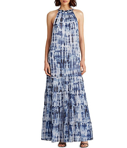 Lauren Ralph Lauren Tiered Tie Dye Sleeveless Maxi Dress