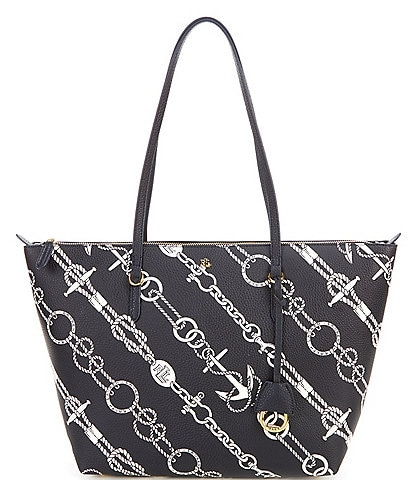 Lauren Ralph Lauren Keaton Anchored Ropes Printed Tote Bag