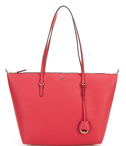 Lauren Ralph Lauren Keaton Pebbled Texture Ruby Tote Bag