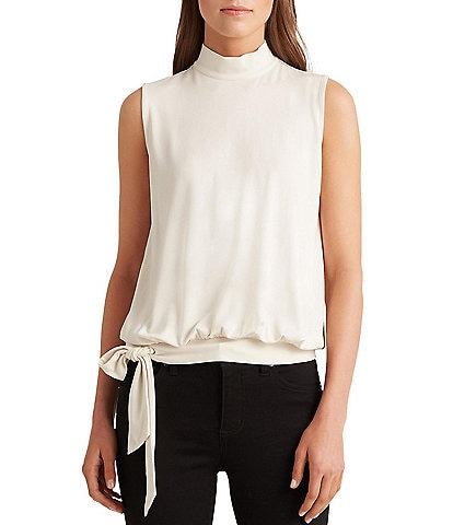 Lauren Ralph Lauren Knit Jersey Mock Neck Side Tie Sleeveless Banded Hem Top