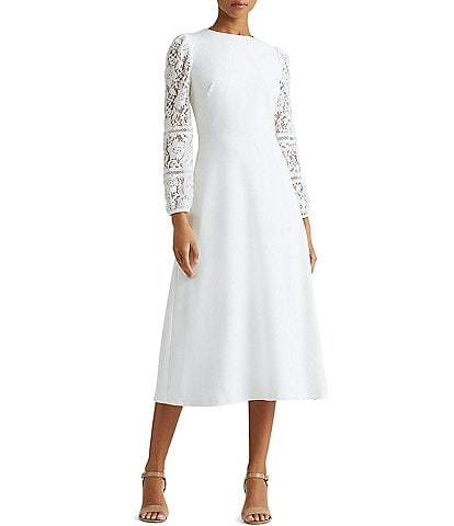 Lauren Ralph Lauren Lace Puff Sleeve Crepe Midi Dress