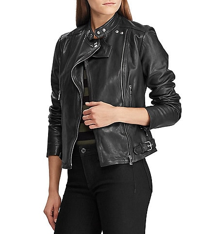 Lauren Ralph Lauren Lambskin Leather Biker Jacket