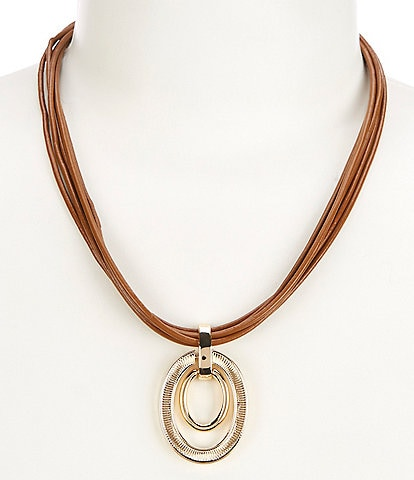 Lauren Ralph Lauren Leather Pendant Necklace
