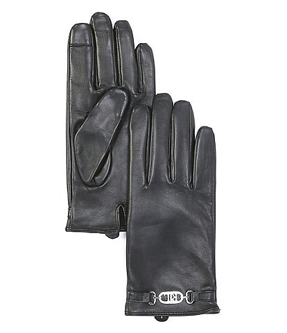 Lauren Ralph Lauren Logo Hardware Leather Tech Touch Gloves