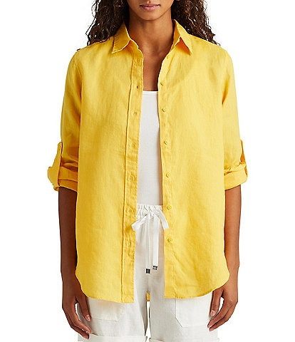 Lauren Ralph Lauren Long Roll-Tab Sleeve Button Down Linen Shirt