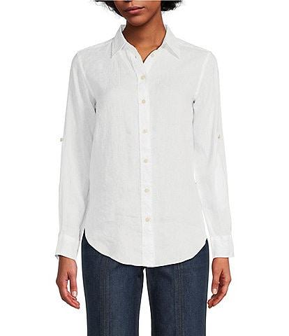 Lauren Ralph Lauren Long Roll-Tab Sleeve Button Down Linen Shirt