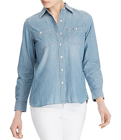 cb6e47d9a6c Lauren Ralph Lauren Long-Sleeve Chambray Denim Shirt