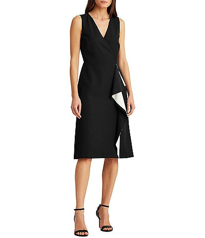 Lauren Ralph Lauren Crepe V-Neck Sleeveless Ruffle Front Faux Wrap Dress