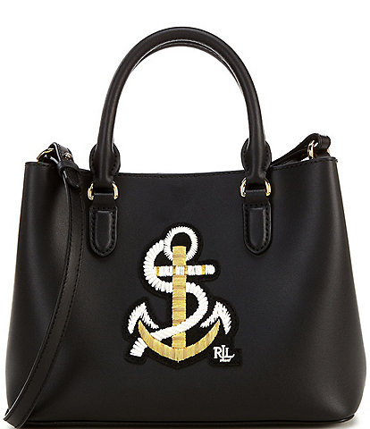 Lauren Ralph Lauren Marcy Anchor Leather Snap Satchel Bag