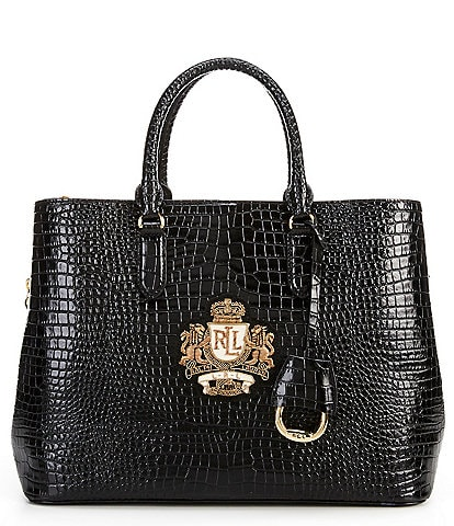 Lauren Ralph Lauren Marcy Crocodile-Embossed Satchel Bag