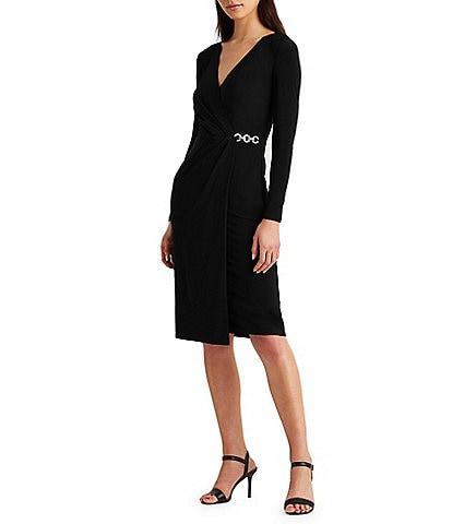 Lauren Ralph Lauren Matte Jersey Long Sleeve Lined Rhinestone Embellishment Surplice Dress