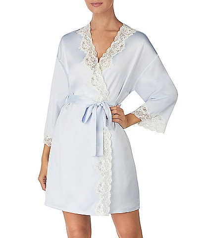 Lauren Ralph Lauren Matte Satin Kimono Short Wrap Robe