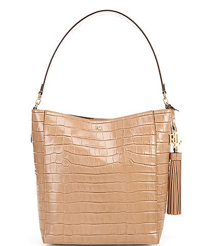 Lauren Ralph Lauren Medium Adley Crocodile Embossed Shoulder Bag
