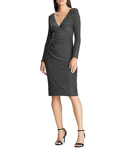 Lauren Ralph Lauren Metallic Knit Ruched Bodice Sheath Dress