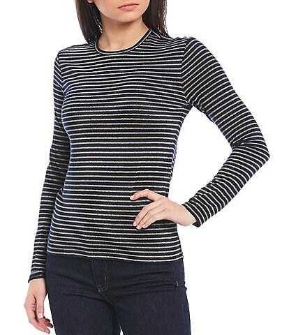 Lauren Ralph Lauren Metallic Stripe Knit Jersey Crew Neck Long Sleeve Top
