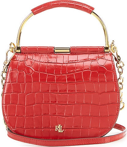 Lauren Ralph Lauren Mini Round Crocodile-Embossed Satchel Bag