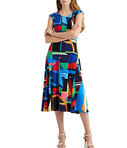 Lauren Ralph Lauren Modern Nautical Inspired Geometric Print Stretch Matte Jersey Cap Sleeve Midi Dress