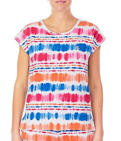 Lauren Ralph Lauren Multi Striped Print French Terry Coordinating Lounge Top