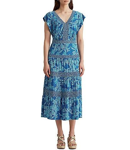 Lauren Ralph Lauren V-Neck Printed Cap Sleeve Maxi Dress