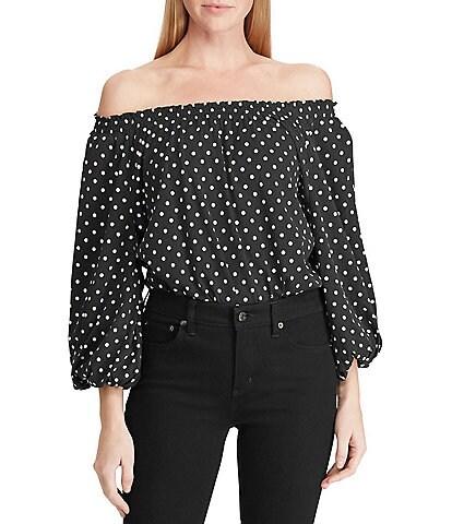 Lauren Ralph Lauren Off-the-Shoulder Polka Dot 3/4 Raglan Sleeve Jersey Top