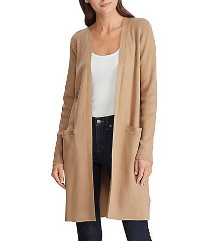 Lauren Ralph Lauren Open Front Long Sleeve Cotton-Blend Cardigan
