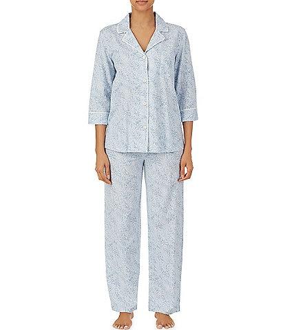 Lauren Ralph Lauren Paisley Print Jersey Knit Notch Collar Top Pajama Set