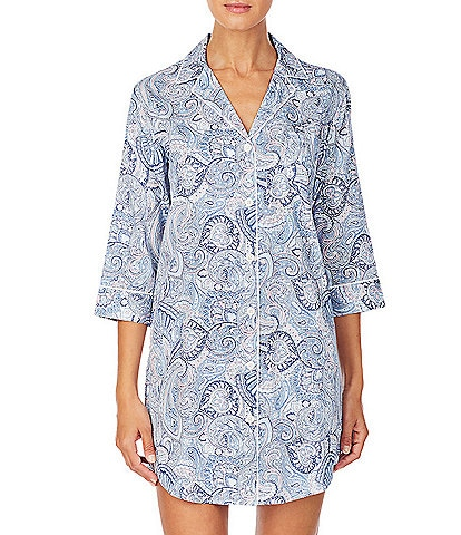 Lauren Ralph Lauren Paisley Printed Knit Sleep Shirt