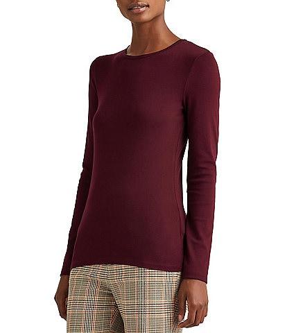 Lauren Ralph Lauren Petite Size Cotton-Blend Crew Neck Long Sleeve Top