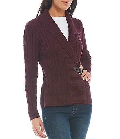 Lauren Ralph Lauren Petite Size Ribbed Shawl Collar Buckled Cotton Sweater