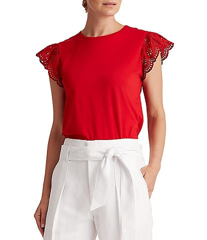 Lauren Ralph Lauren Petite Size Embroidered Eyelet Ruffle Sleeve Cotton Tee