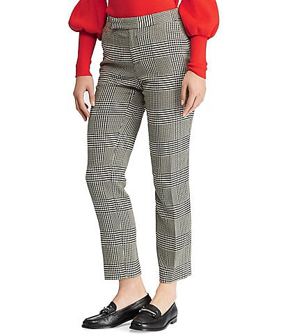 Lauren Ralph Lauren Petite Size Glen Plaid Cotton Blend Straight Leg Ankle Pants