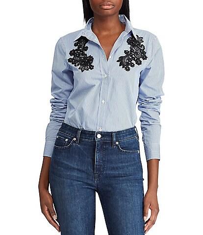 Lauren Ralph Lauren Petite Size Lace-Patch Cotton Button-Down Shirt