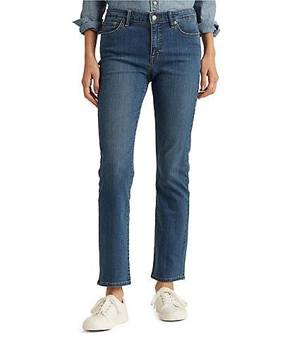 Lauren Ralph Lauren Petite Size Mid-Rise Straight Leg Jeans