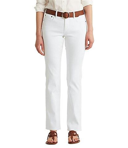 Lauren Ralph Lauren Petite Size Mid-Rise Straight Leg Roll Cuff Jeans