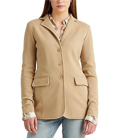 Lauren Ralph Lauren Petite Size Notch Lapel Cotton-Blend Button Front Knit Jacket