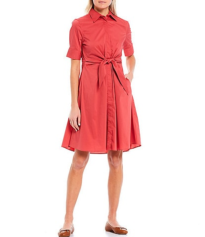 Lauren Ralph Lauren Petite Size Stretch Woven Cotton Blend Elbow Sleeve Tie Waist Shirt Dress