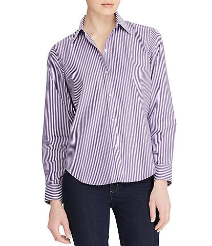 Lauren Ralph Lauren Petite Size Wrinkle-Free Striped Dress Shirt