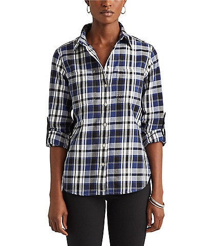 Lauren Ralph Lauren Plaid Cotton Twill Roll-Tab Button Front Long Sleeve Shirt