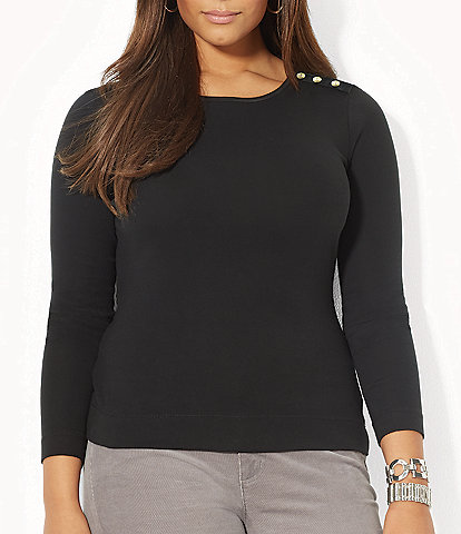 Lauren Ralph Lauren Plus Buttoned-Shoulder Top