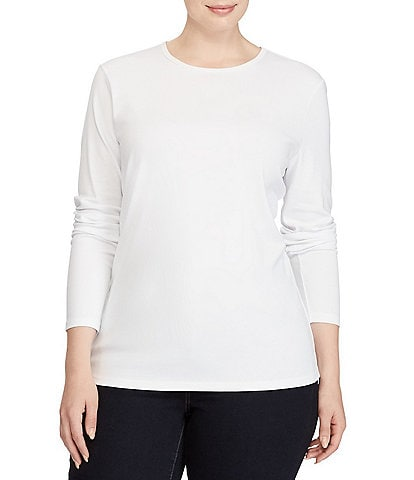 Lauren Ralph Lauren Plus Long-Sleeve Stretch Cotton T-Shirt
