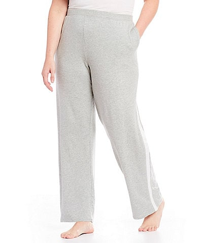 Lauren Ralph Lauren Plus Satin Trimmed Knit Jogger Lounge Pants
