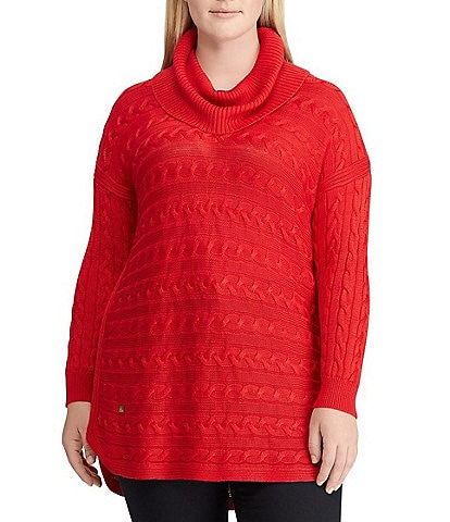 Lauren Ralph Lauren Plus Size Cable Knit Turtleneck Sweater