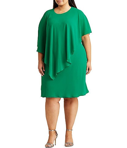 Lauren Ralph Lauren Plus Size Georgette Cape Shift Dress